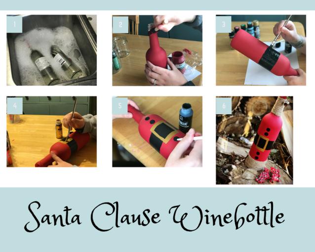 santa clause wine bottle